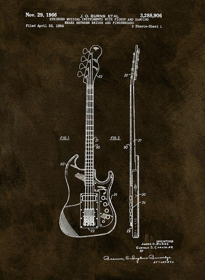 Vintage 1966 Bass Guitar Patent Drawing