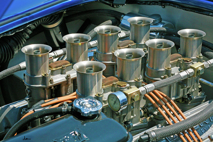 Automobile Engine Photograph - Vintage 8 Cylinder by Ave Guevara