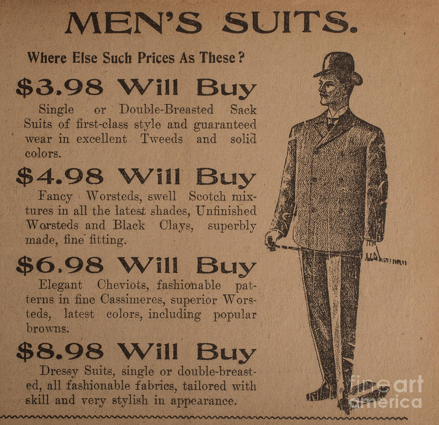 Background Photograph - Vintage Ad For Mens Suits by Edward Fielding