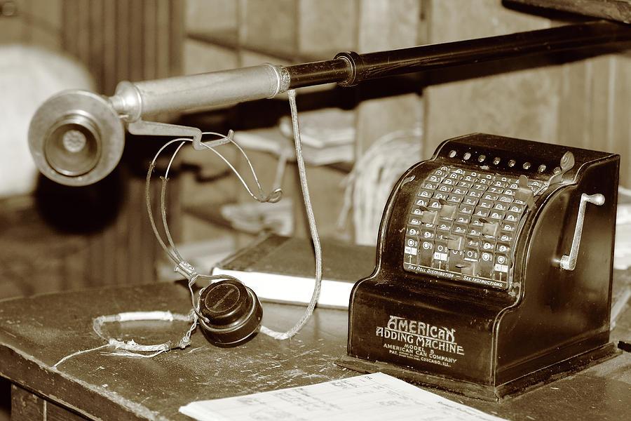 Vintage Photograph - Vintage Adding Machine by Brian Pflanz