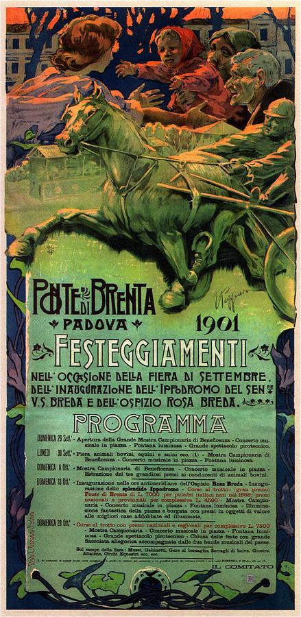Vintage Advertising Poster - Horse Racing In Padova - Ponte Brenta Mixed Media