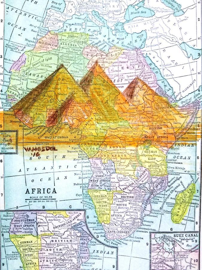 Vintage African Map Drawing by Scott D Van Osdol