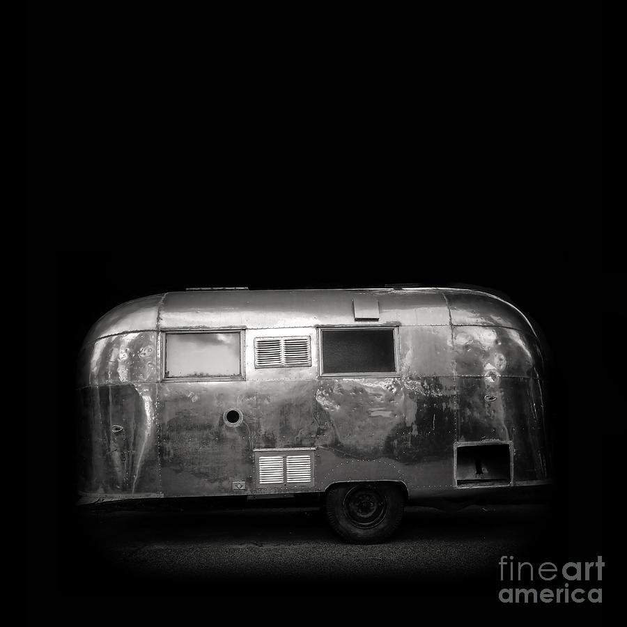 Vintage Airstream Travel Camper Trailer Square by Edward Fielding