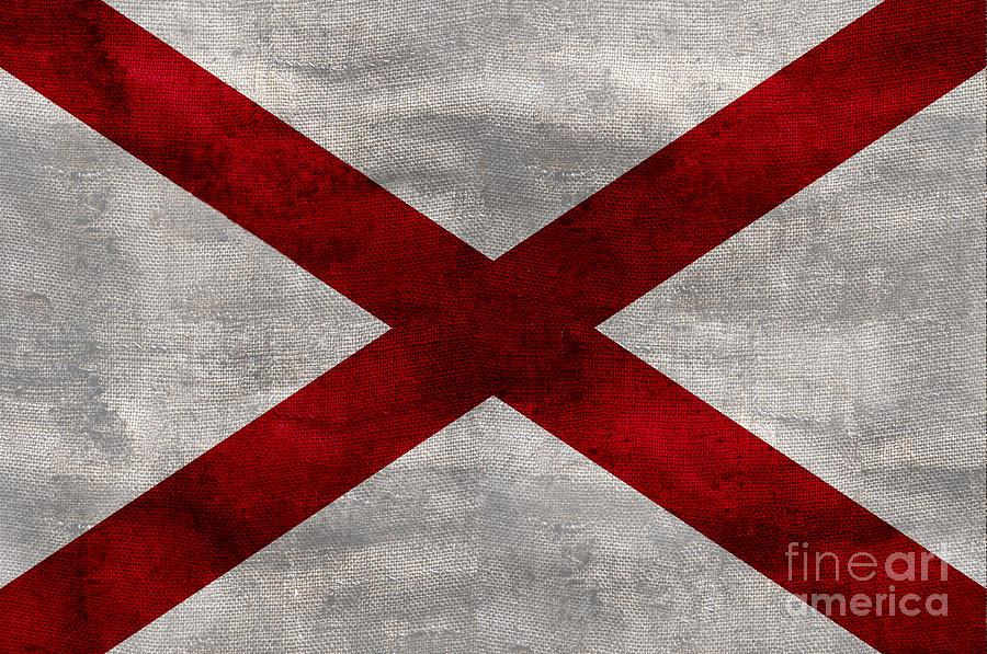 Vintage Alabama Flag Photograph by Jon Neidert