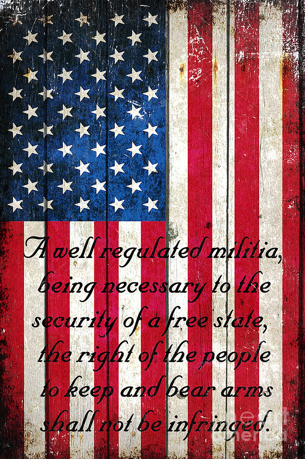 Vintage American Flag And 2nd Amendment On Old Wood Planks by M L C