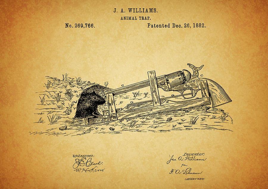 Vintage Animal Trap Patent Drawing
