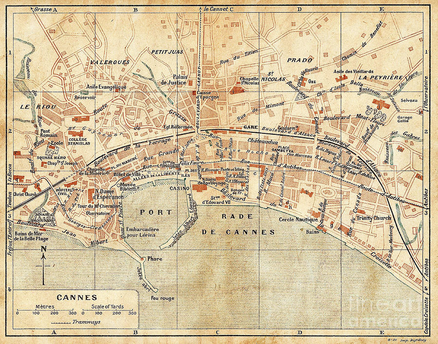 Vintage Antique City Map Cannes France Photograph by ELITE IMAGE