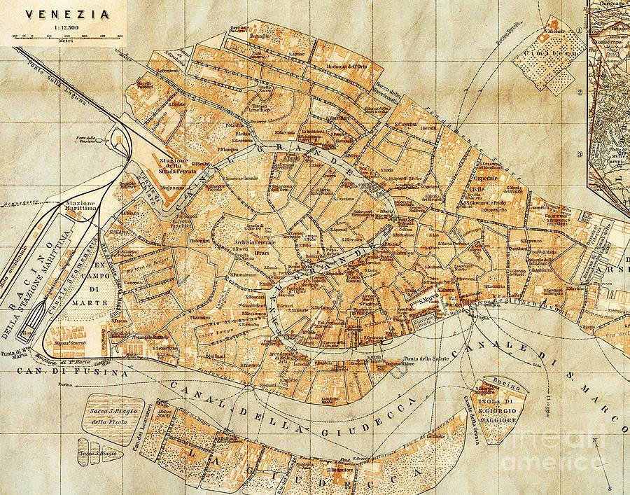 Vintage Antique City Map Venice Photograph by ELITE IMAGE ...