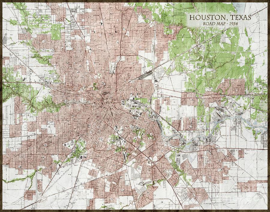 Vintage Antique Houston Texas City Map Photograph by ELITE ... on