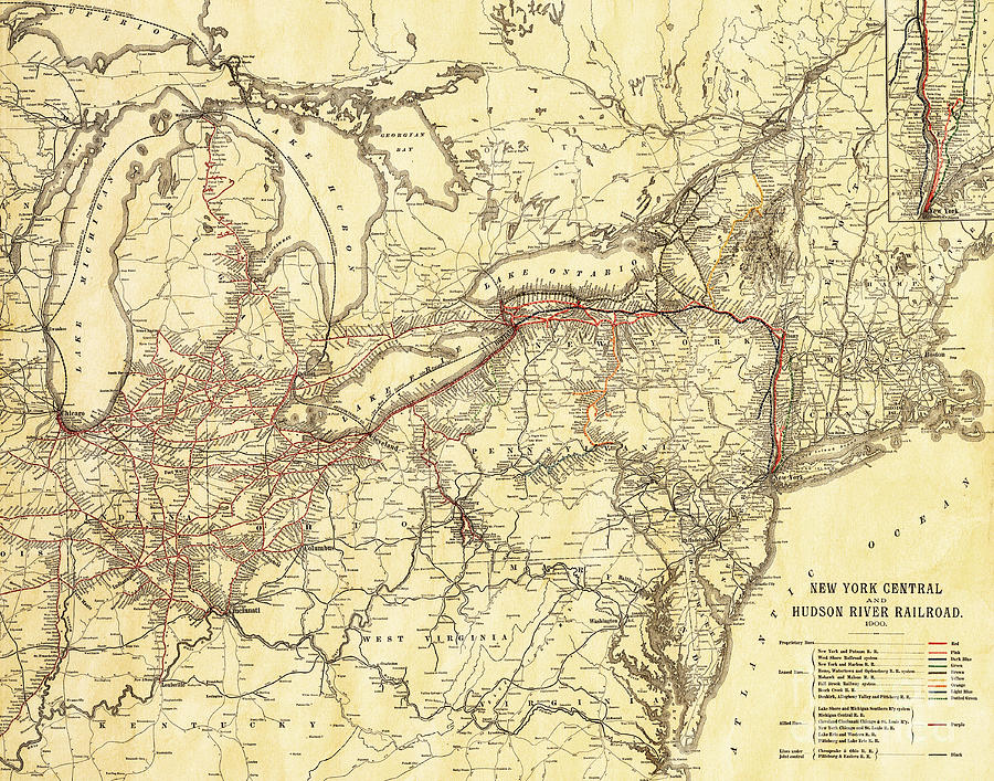 Vintage Antique Map Of The New York Central And Hudson