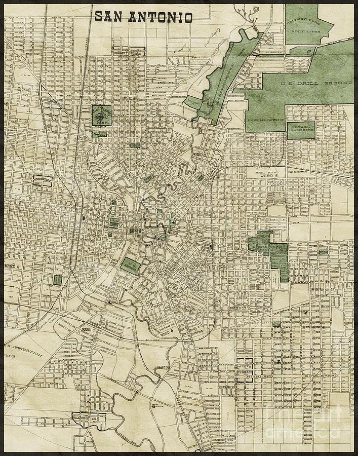 Vintage Antique San Antonio Texas City Map