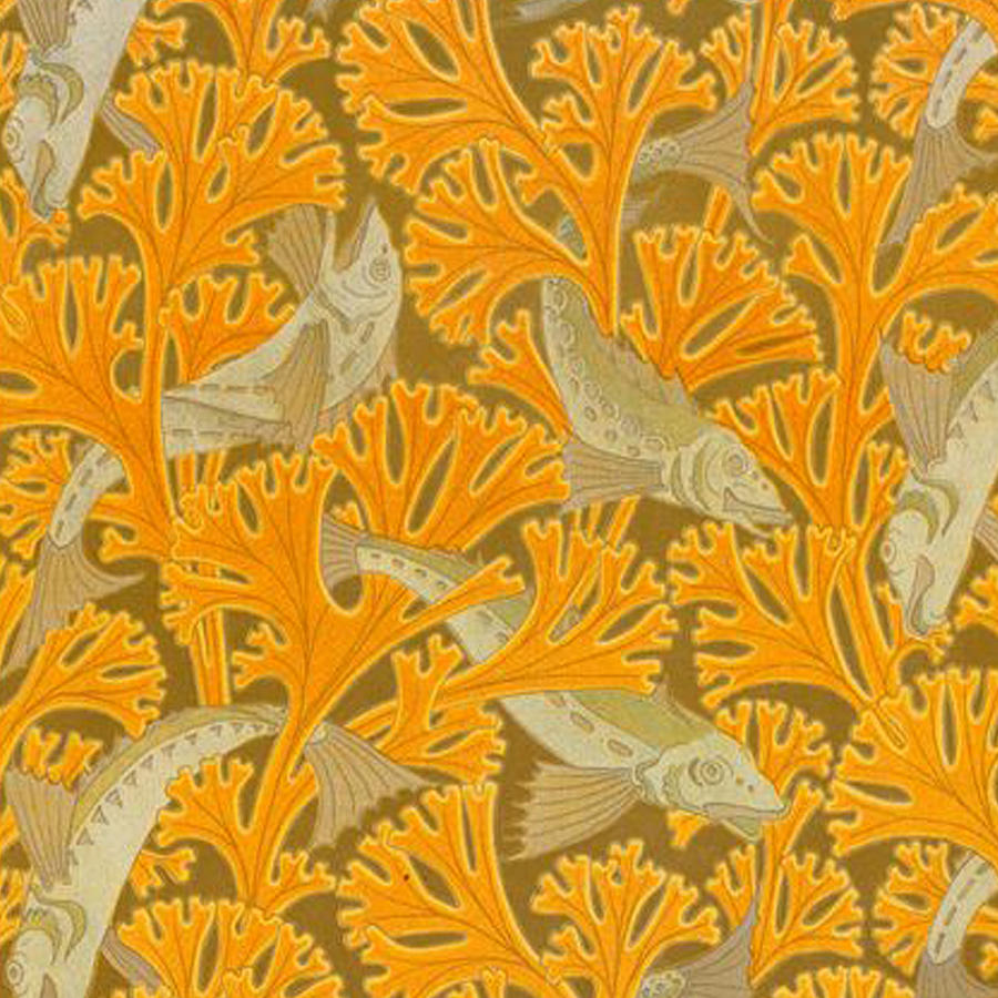 Vintage Art Deco Fish And Yellow Coral Design Drawing by ...