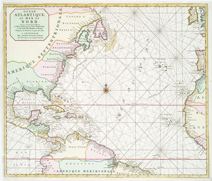 Vintage Atlantic Ocean And North America Map - 1700s Drawing