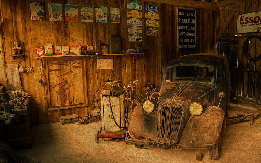 Vintage Auto Repair Garage With Truck And Signs Mixed