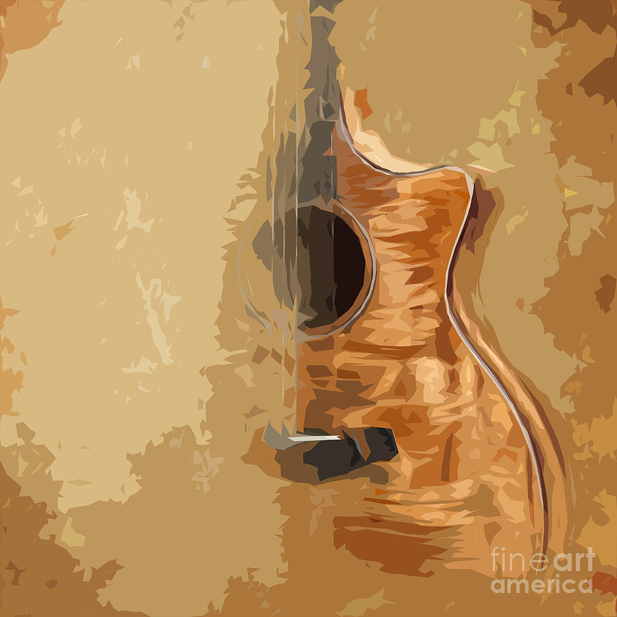 Guitar Painting - Vintage Background Guitar by Drawspots Illustrations