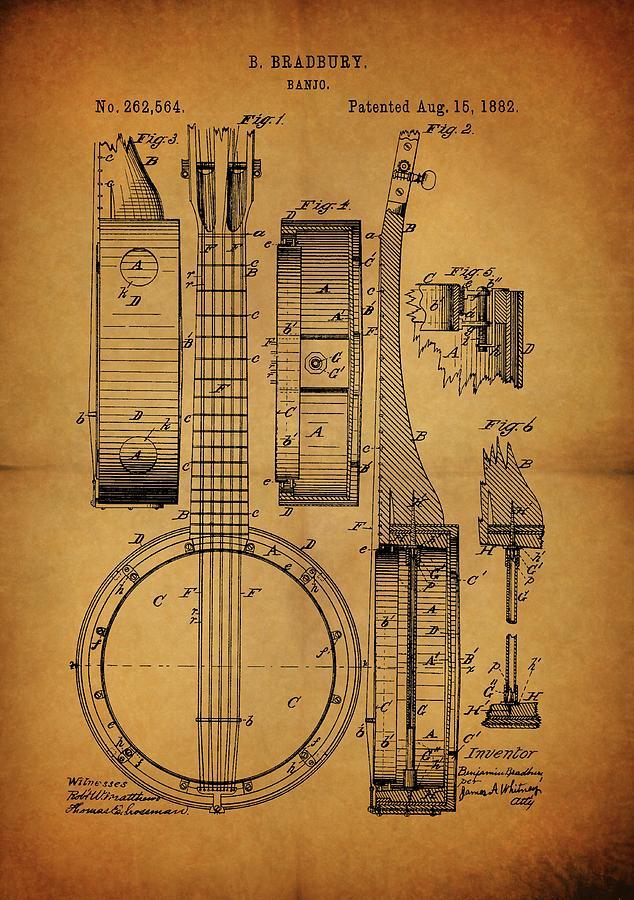 Vintage Banjo Patent Drawing