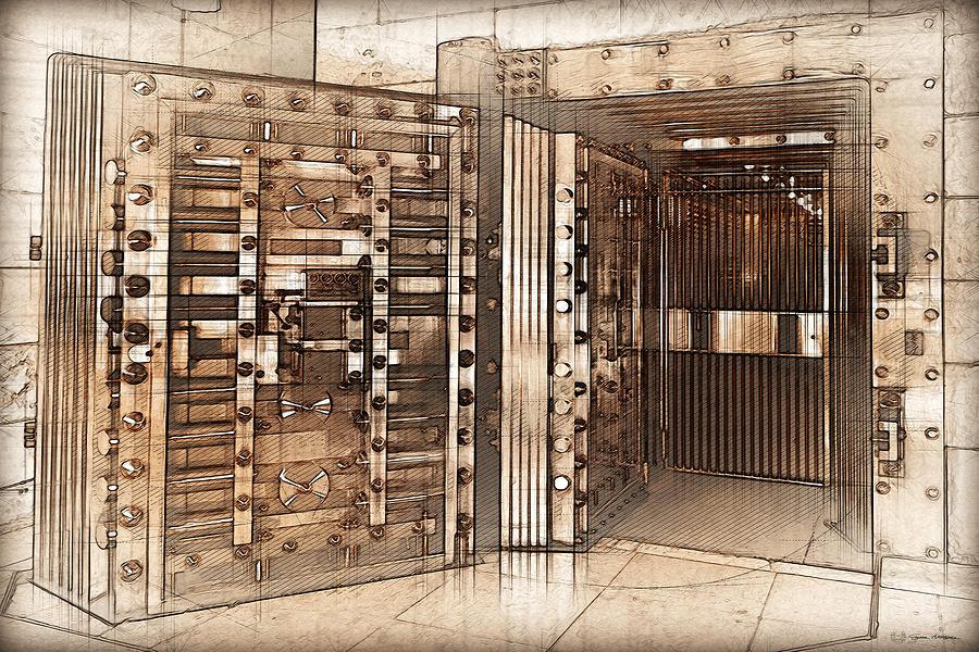 Vintage Bank Vault Door And Lock No 2 Digital Art By
