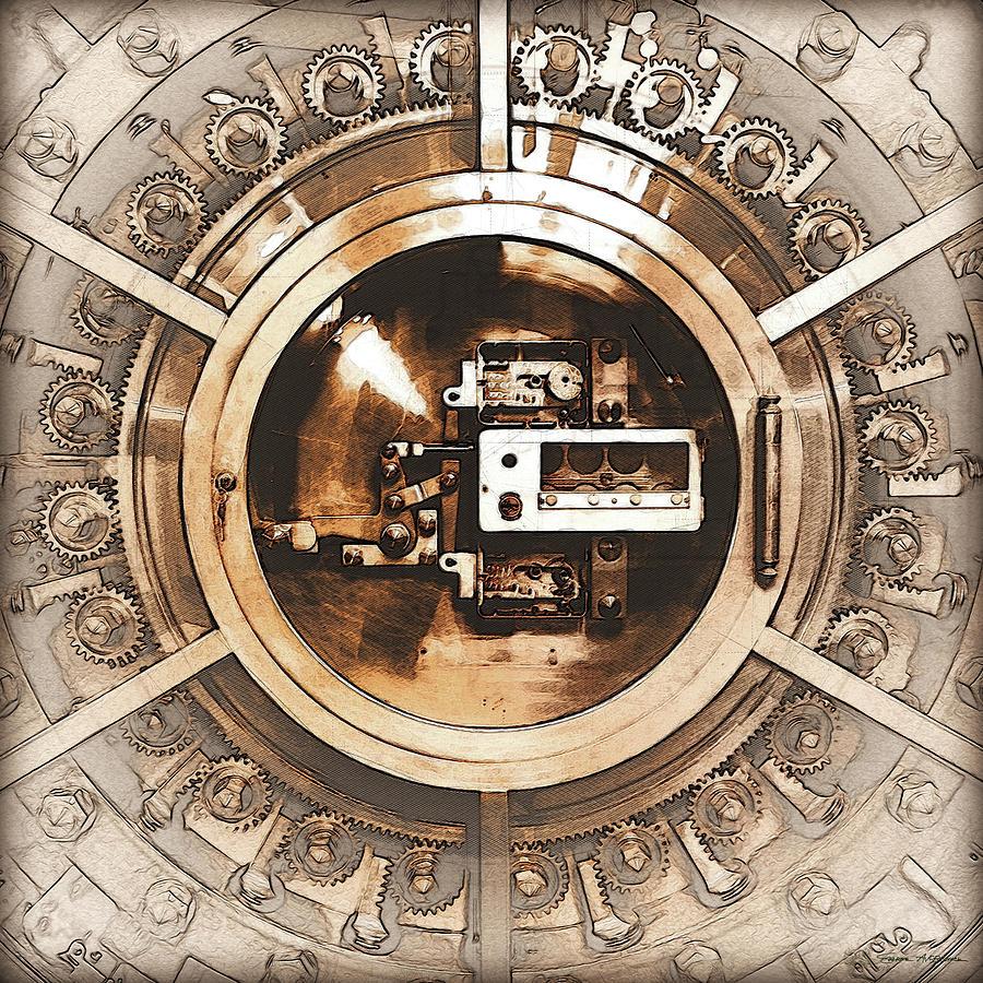 Design Vintage Bank.Vintage Bank Vault Lock No 3 Digital Art By Serge Averbukh