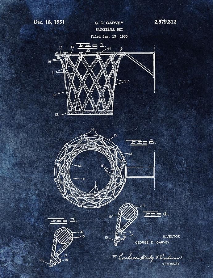 Vintage basketball net patent drawing by dan sproul for Vintage basketball wall art