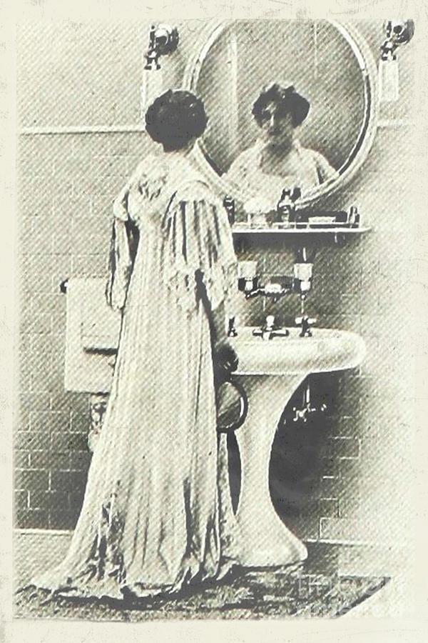Vintage Bathroom Wall Art Lady In Mirror Digital Art by Nikki Vig