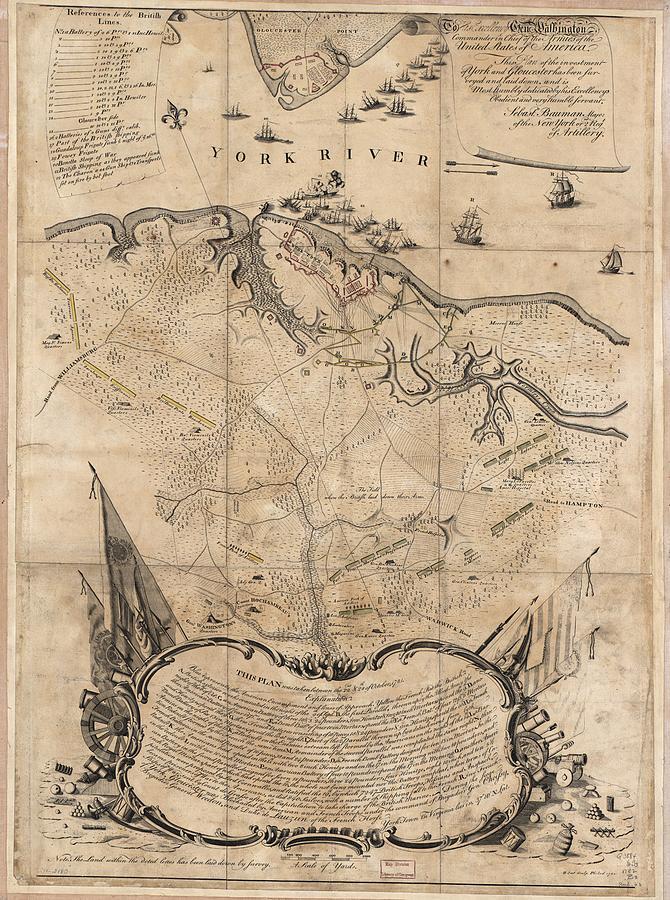 Vintage Battle Of Yorktown Virginia Map - 1781 Drawing