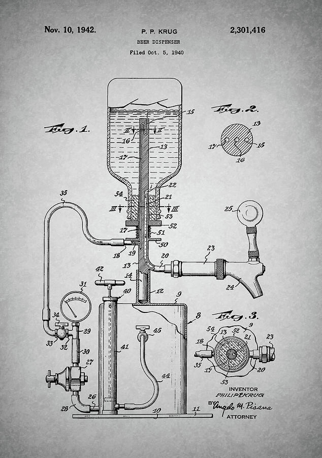 Vintage Beer Dispenser Patent Drawing