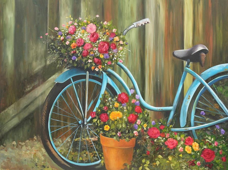 Vintage Bicycle Garden Painting By Joyce Lapp