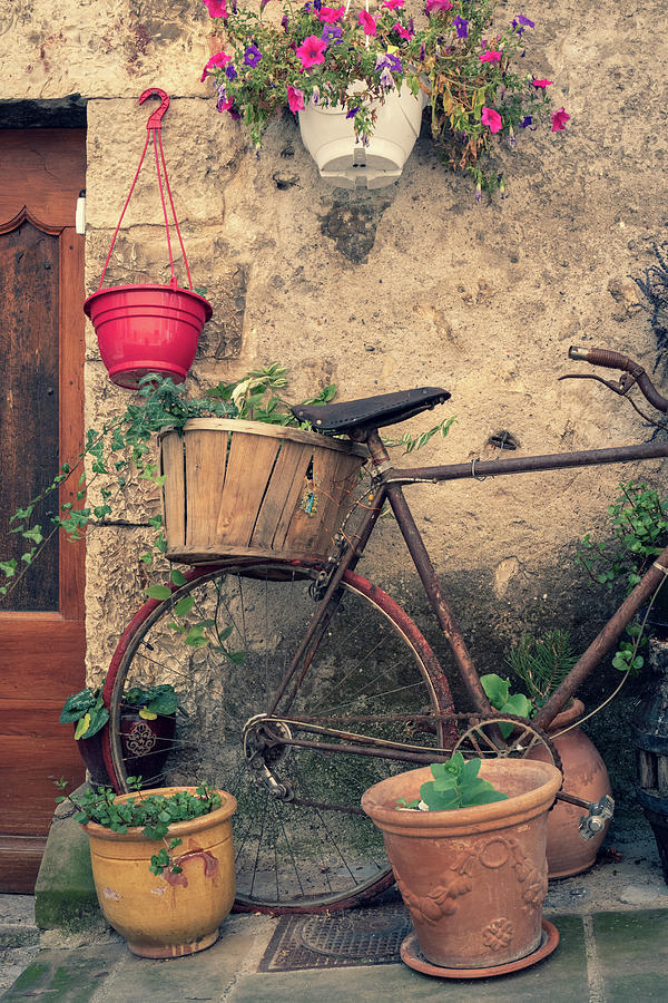 2018 Photograph - Vintage bicycle used as a flower pot, Provence by Dalibor Hanzal