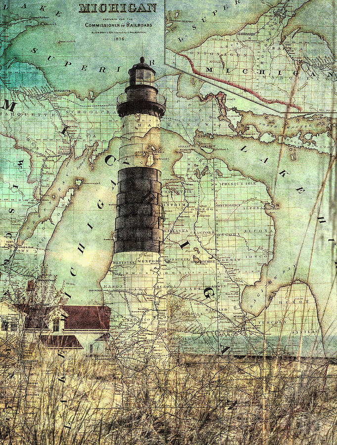 Vintage Big Sable Lighthouse Michigan Map Mixed Media By Dan