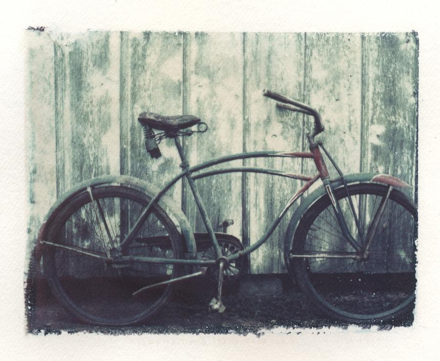 Polaroid Transfer Photograph - Vintage Bike Polaroid Transfer by Jane Linders