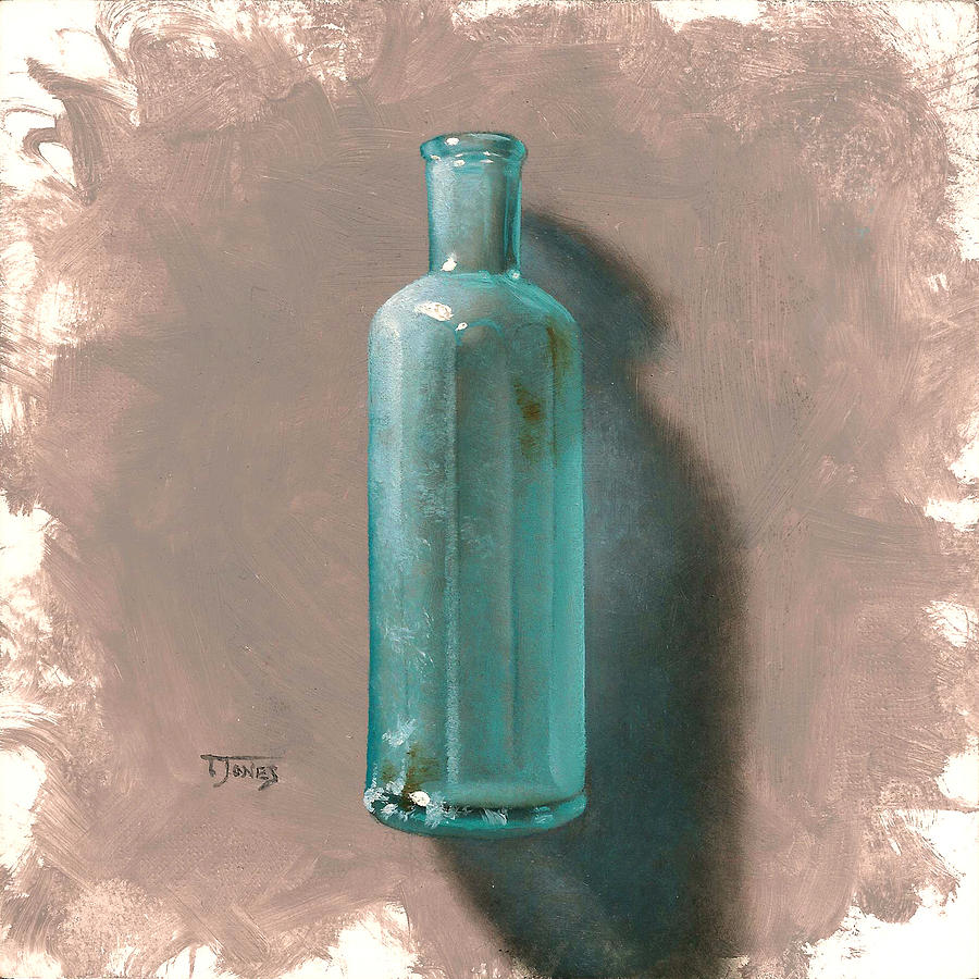 Antique Painting - Vintage Blue Bottle by Timothy Jones