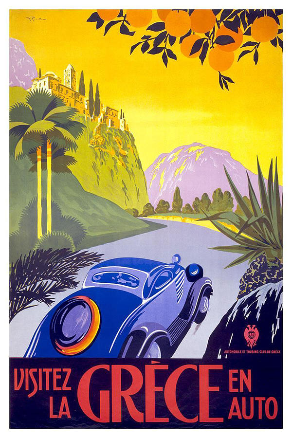 Vintage Blue Car In A Countryside Landscape In Greece - Vintage Travel Poster Painting