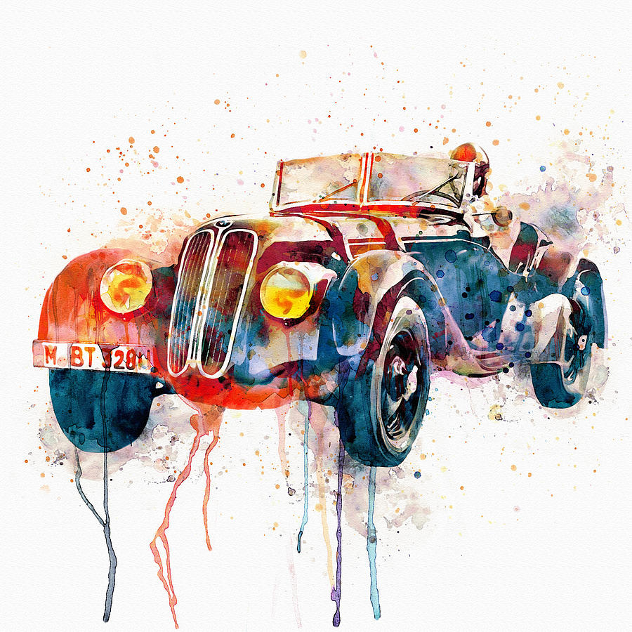 Vintage Bmw Watercolor Mixed Media By Marian Voicu