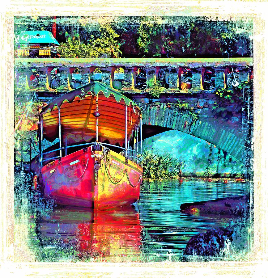 Vintage Boat Reflections Water Bridge Udaipur City of Lakes Rajasthan India 1a by Sue Jacobi