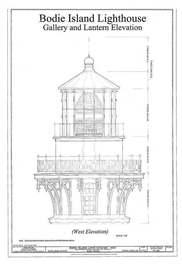 Drawing Room Blueprint: Vintage Bodie Island Lighthouse Blueprint Drawing By
