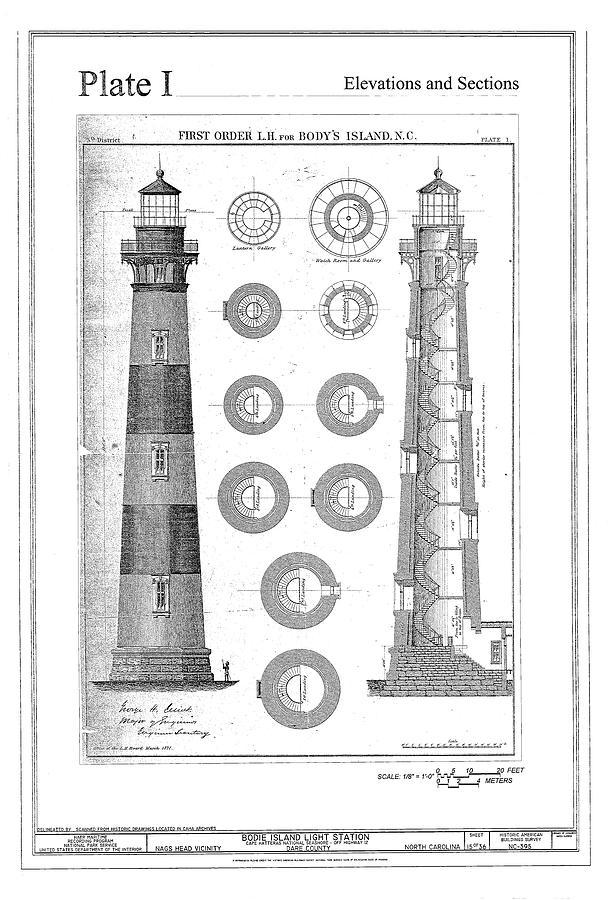 Vintage Bodie Island Lighthouse Diagram Drawing By Artassociates