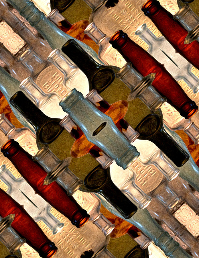 Bottle Digital Art - Vintage Bottles Abstract by Phil Perkins
