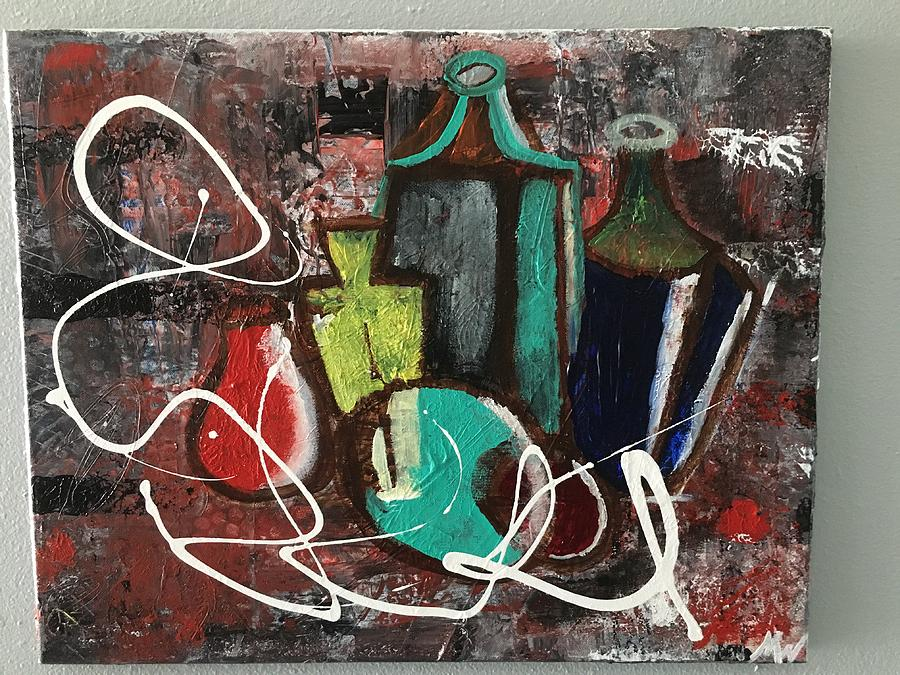 Abstract Bottles Painting - Vintage Bottles  by Michael Walters