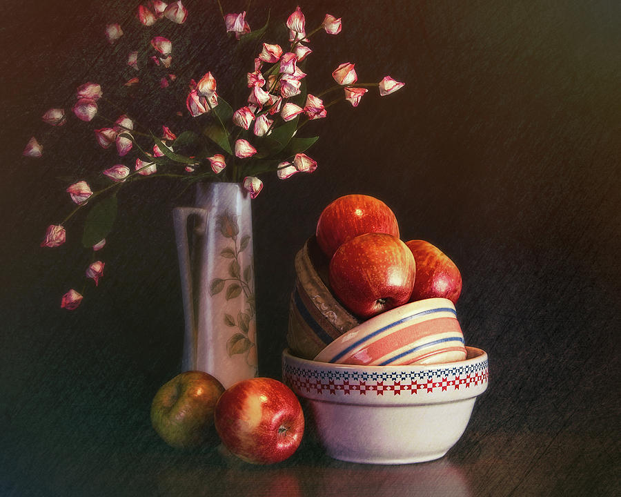 Apple Photograph - Vintage Bowls with Apples by Tom Mc Nemar