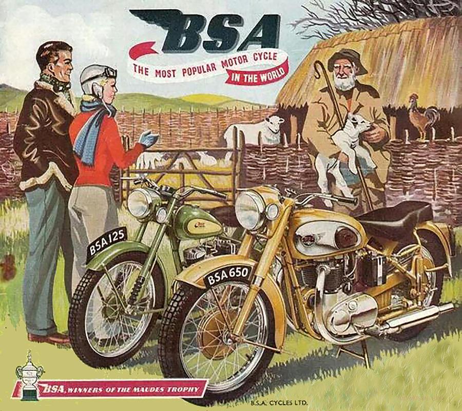 Vintage Motorcycle Digital Art - Vintage British Bsa Motorcycle Advert by Marlene Watson