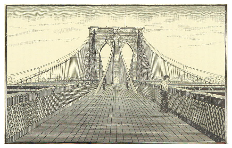 Vintage Brooklyn Bridge Illustration - 1883 Drawing by ...
