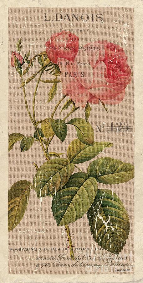 Floral Painting - Vintage Burlap Floral 2 by Debbie DeWitt