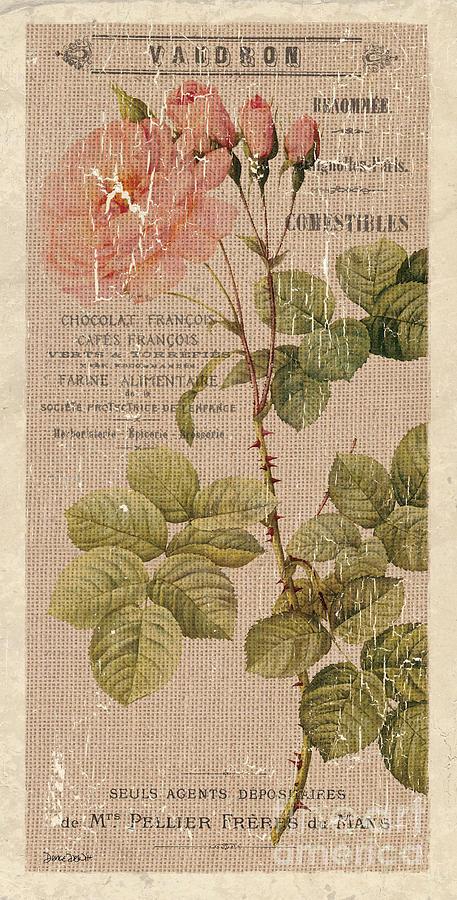 Floral Painting - Vintage Burlap Floral 4 by Debbie DeWitt