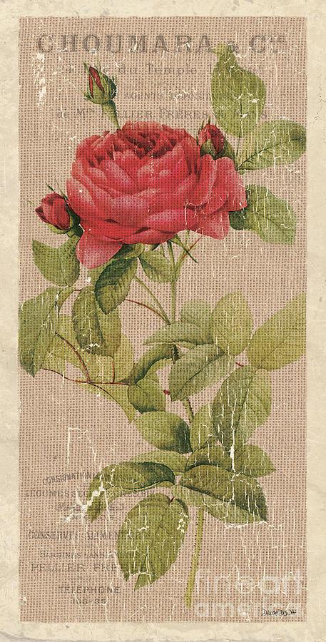 Floral Painting - Vintage Burlap Floral by Debbie DeWitt