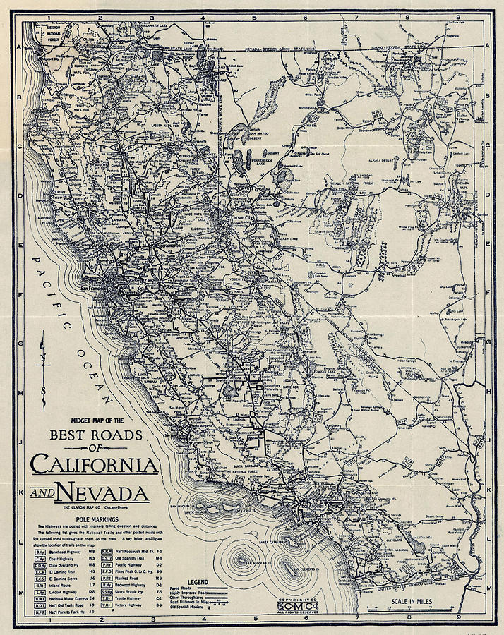 Vintage California And Nevada Road Map Drawing by CartographyAssociates