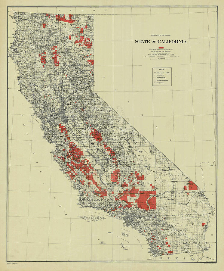 Vintage California Map Drawing By Vintage Pix