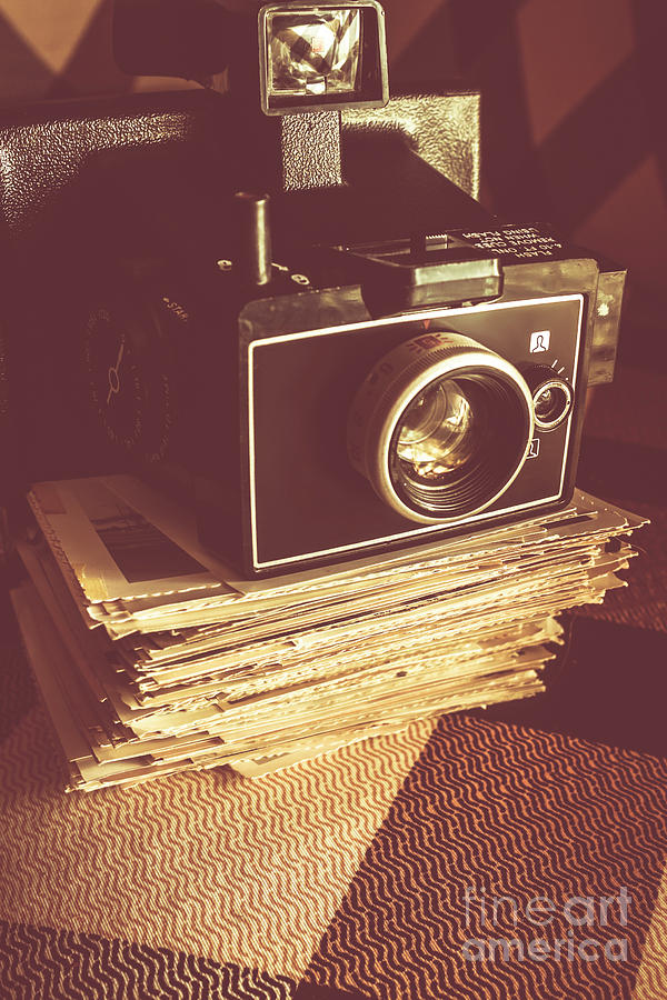 Photographer Photograph - Vintage Camera On Stack Of Instant Photos by Jorgo Photography - Wall Art Gallery