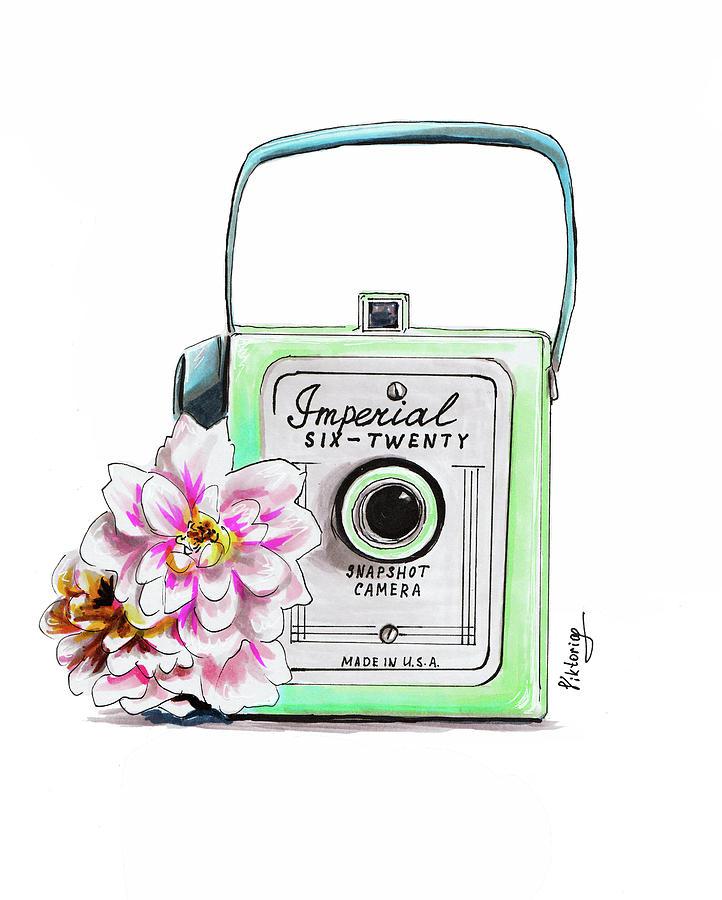 Camera Drawing - Vintage Camera by Viktoryia Lavtsevich