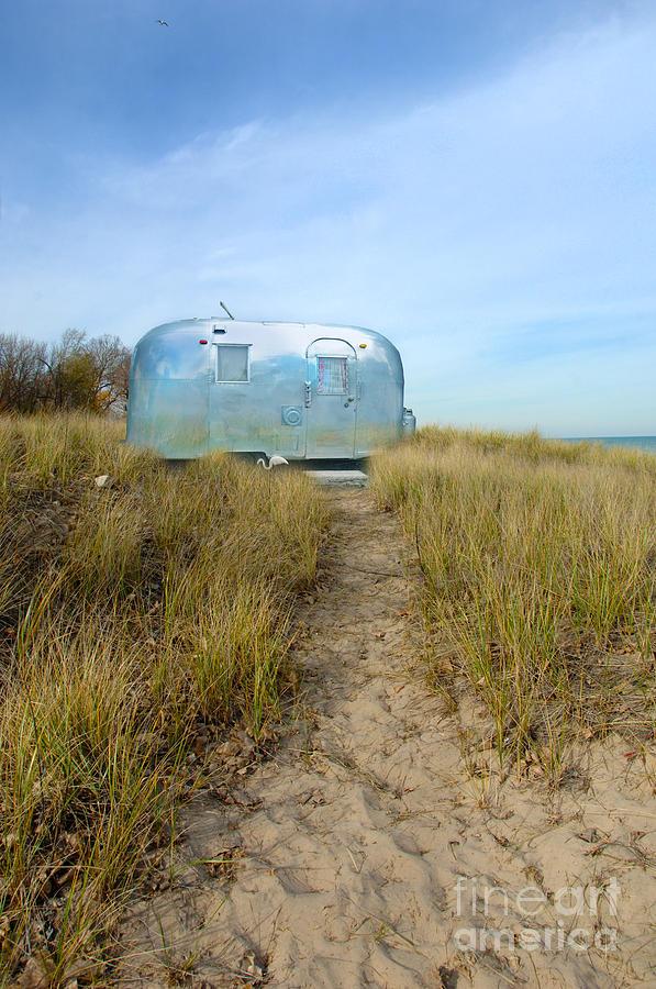 Trailer Photograph - Vintage Camping Trailer Near The Sea by Jill Battaglia