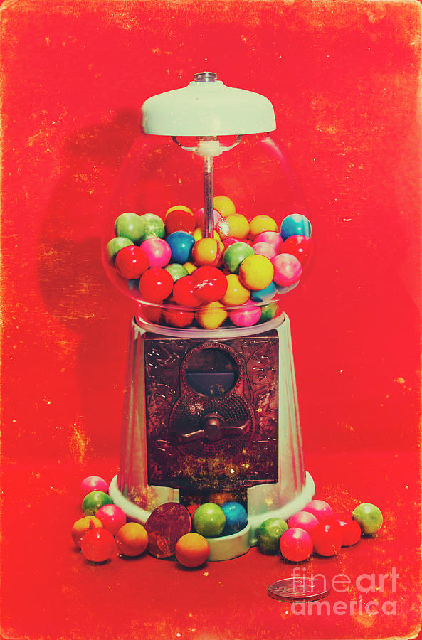 Retro Photograph - Vintage Candy Store Gum Ball Machine by Jorgo Photography - Wall Art Gallery